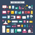 Set of electronic devices and home appliances icons in flat style template vector elements for web mobile applications Royalty Free Stock Image