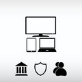 Set of electronic devices icon, vector illustration. Flat design