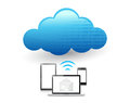 Set of electronics communication tools connected to a cloud via wifi illustration design Stock Photography