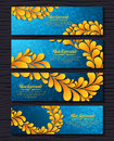 Set of elegant banners with golden royal ornament Royalty Free Stock Photo
