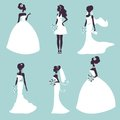 Set of elegant brides in silhouette vector illustration Stock Photography