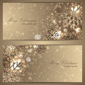 Set of elegant christmas banners with snowflakes for your design Stock Photos