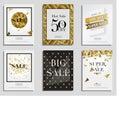 Set of Elegant Sale Banners with Golden Frame