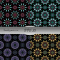 Set of elegant seamless patterns with floral and Mandala element Royalty Free Stock Photo