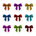 Set of elegant silk colored bows for design vector illustration eps Stock Photos