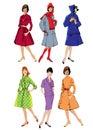 Set of elegant women retro style fashion models spring or fall seasons color image Stock Images