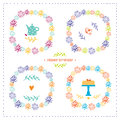 Set of elements for birthday party, greeting cards. Vector decorative frames, cake, kettle, bird. Royalty Free Stock Photo