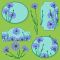 Set of elements with blue cornflowers vector Stock Photos