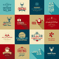 Set of elements for christmas and new year greetin vintage greeting cards Stock Photos