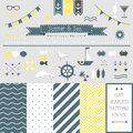 Set of elements for design sea and summer the kit includes ribbons bows anchor hearts arrows striped vector patterns Stock Image