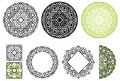 Set elements from floral mandala. Vector mandala collection in black and green colors. For creative and coloring book.