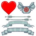 Set of elements: heart, armor, metal arrows, a tape.