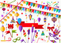 Set elements holiday decorations garland, flags, balloons, bows, flashlights, ribbons, masks