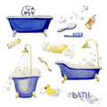 Set of elements of an interior bathroom. Watercolor illustration. Royalty Free Stock Photo