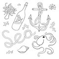 A set of elements seashells rope anchor octopu octopus bottle with ship in the style the cartoon can be used for tattooing Royalty Free Stock Photography