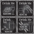 Set elements on the theme of the restaurant business. Chalk dra