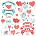 Set of elements for Valentines Day, wedding design. Includes hearts, ribbons, sweets, letters, envelopes, arrows. Love