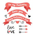 Set of elements for Valentines Day, wedding design. Includes ribbons, arrows, lettering. Love elements for your design.