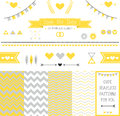 Set of elements for wedding design save the date kit includes ribbons bows hearts arrows and different chevron patterns Royalty Free Stock Images