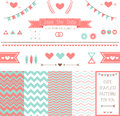 Set of elements for wedding design save the date kit includes ribbons bows hearts arrows and different chevron patterns Royalty Free Stock Image
