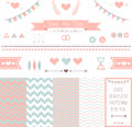 Set of elements for wedding design save the date kit includes ribbons bows hearts arrows and different chevron vector patterns Stock Photos