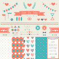 Set of elements for wedding design save the date kit includes ribbons bows hearts arrows and dotted patterns Royalty Free Stock Images