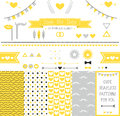 Set of elements for wedding design save the date kit includes ribbons bows hearts arrows and pattern with hearts and a Royalty Free Stock Photography