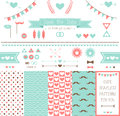 Set of elements for wedding design save the date kit includes ribbons bows hearts arrows and pattern with hearts and a Stock Photos
