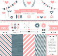 Set of elements for wedding design save the date kit includes ribbons bows hearts arrows and striped patterns Stock Images