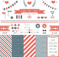 Set of elements for wedding design save the date kit includes ribbons bows hearts arrows and striped patterns Stock Photos