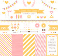 Set of elements for wedding design save the date kit includes ribbons bows hearts arrows and striped vector patterns Stock Image