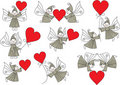 Set elves with hearts Royalty Free Stock Image