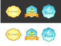 Set of Emblem with Summer Illustrations Royalty Free Stock Photo