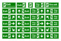 Set of emergency fire exit green signs with different directions on white Royalty Free Stock Photo