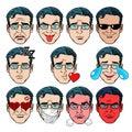 Set Emoji emotions men Royalty Free Stock Photo