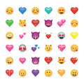 Set of emoticon with hearts isolated on white background.