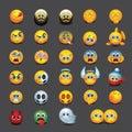 Set of emoticons - emoji - vector illustration