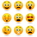 Set of Emoticons. Smile icons. Smiley faces. Emotional funny faces in glossy 3D. Royalty Free Stock Photo