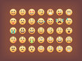 Set of emoticons, smileys  icon pack, emoji  on brown background, vector illustration Royalty Free Stock Photo