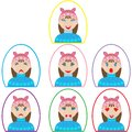 Set of emotion icons. girl in winter clothes in oval frame in flat style