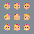 Set of emotions of fair-haired girl.