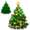 Set of empty and brightly decorated Christmas tree with baubles isolated on white background. Sketch of festive poster Royalty Free Stock Photo