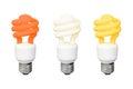 Set of Energy saving fluorescent lamps Royalty Free Stock Photo