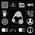 Set of Engine, Information, Fog light, Car, Car lights, Steering wheel, Alloy Air conditioner, Gas station, editable icon pack Royalty Free Stock Photo