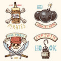 Set of engraved, hand drawn, old, labels or badges for corsairs, bottle of rum and bone, bomb, skull with sabers, hook