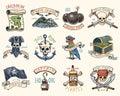 Set of engraved, hand drawn, old, labels or badges for corsairs, skull at anchor, map to treasure, black beard