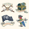 Set of engraved, hand drawn, old, labels or badges for corsairs, skull at anchor, treasures, flag , Caribbean parrot