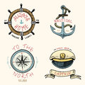 Set of engraved vintage, hand drawn, old, labels or badges for anchor, steering wheel, captains cap, compass. Marine and