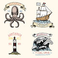 Set of engraved vintage, hand drawn, old, labels or badges for atlantic tidal wave, lighthouse and octopus or sea