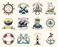 Set of engraved vintage, hand drawn, old, labels or badges for a life ring, a cannon ball, a captain with a pipe